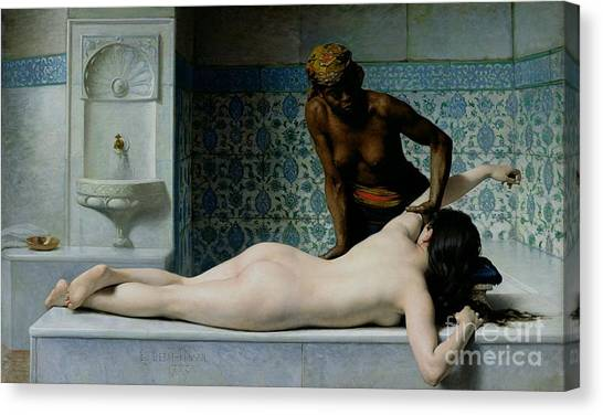 Racism Canvas Print - The Massage by Edouard Debat-Ponsan