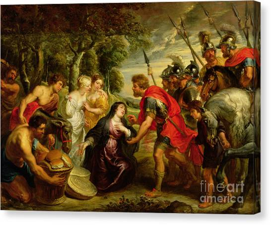 Old Testament Canvas Print - The Meeting Of David And Abigail by Peter Paul Rubens