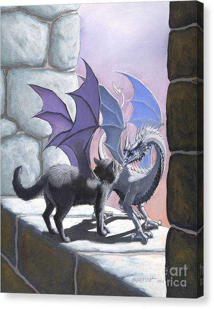 Dragons Canvas Print - The Meeting by Stanley Morrison