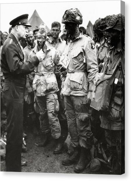 Paratroopers Canvas Print - The Men Of Company E Of The 502nd Parachute Infantry Regiment Before D Day by American School