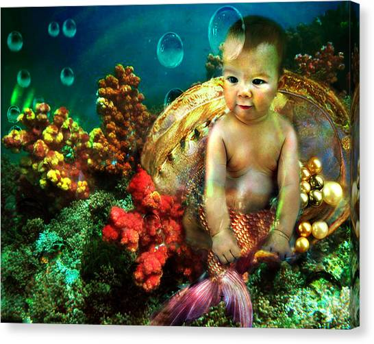 The Mermaids Treasure Canvas Print