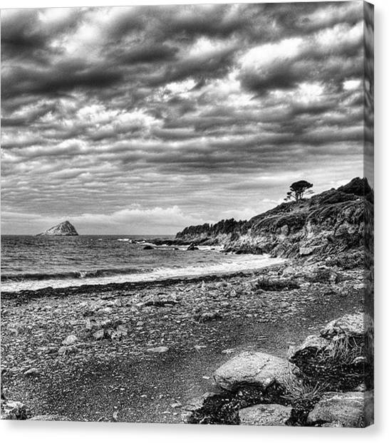 Trip Canvas Print - The Mewstone, Wembury Bay, Devon #view by John Edwards