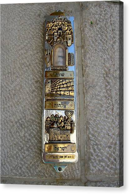 The Mezuzah At The Entry To The Kotel Plaza Canvas Print by Susan Heller