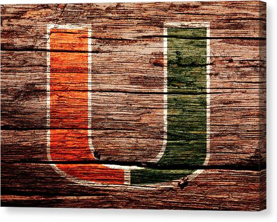 University Of Miami Canvas Print - The Miami Hurricanes 1a by Brian Reaves