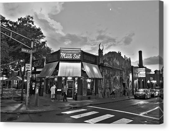 The Middle East In Central Square Cambridge Ma Black And White Canvas Print