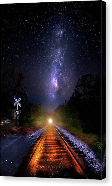 Thomas The Train Canvas Print - The Midnight Milky Way Express by Mark Andrew Thomas