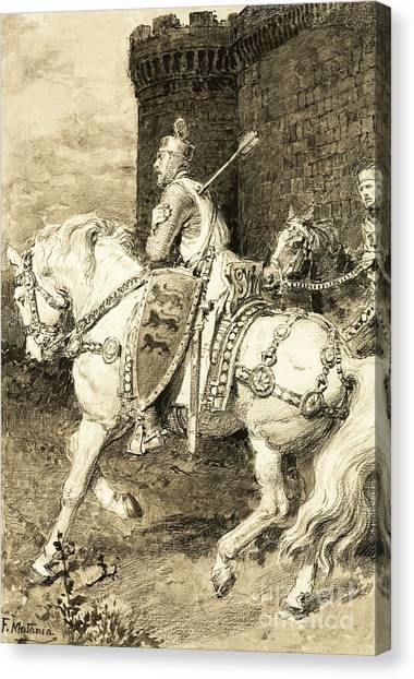 Fort Pierce Canvas Print - The Mighty King Of Chivalry  Richard The Lion Heart by Fortunino Matania