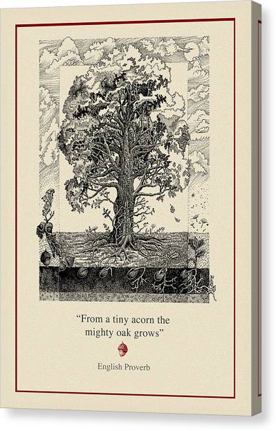 Tree Canvas Print - The Mighty Oak by Ernestine Grindal
