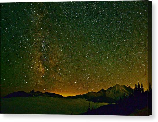 The Milky Way And Mt. Rainier Canvas Print