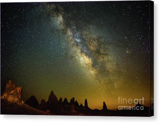 Etherial Canvas Print - The Milky Way Galaxy Over The Trona Pinnacles In California. by Jamie Pham