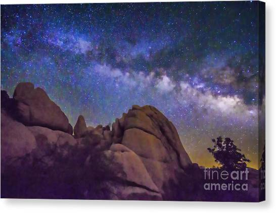 Milky Way Over Indian Rock Canvas Print