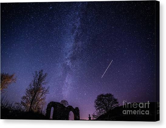 The Milky Way Over Strata Florida Abbey, Ceredigion Wales Uk Canvas Print