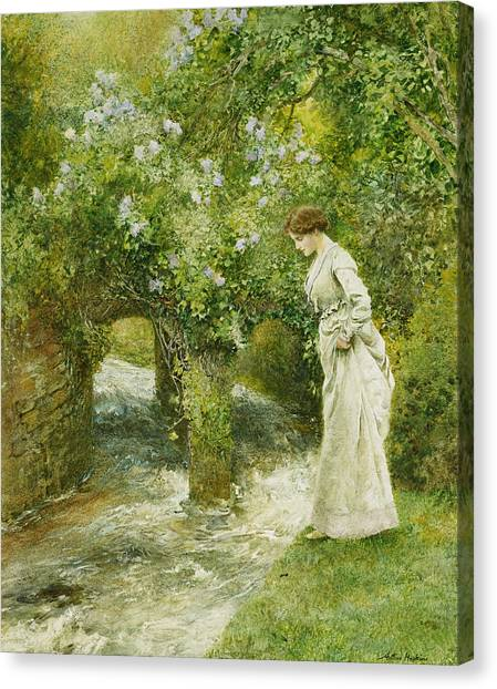 Victorian Garden Canvas Print - The Mill Stream In Spring by Arthur Hopkins