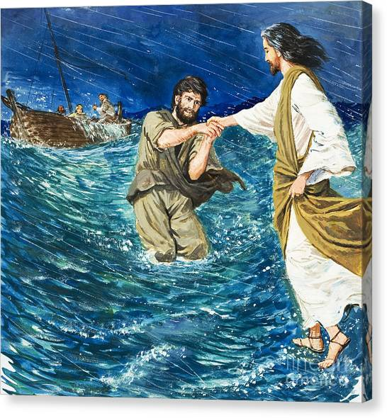 Fishing Boats Canvas Print - The Miracles Of Jesus Walking On Water  by Clive Uptton