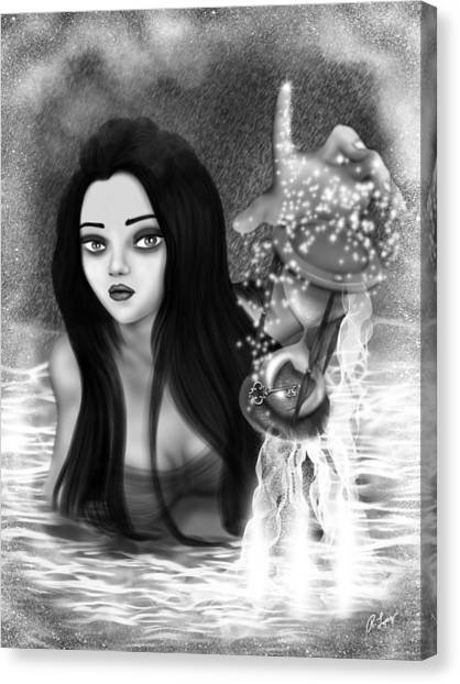 The Missing Key - Black And White Fantasy Art Canvas Print