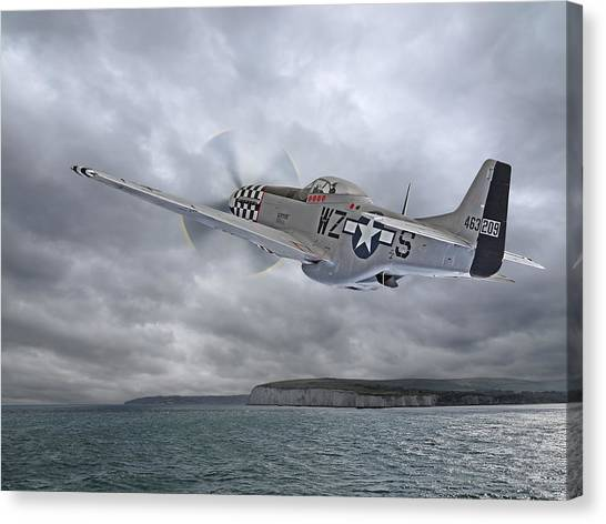 The Mission - P51 Over Dover Canvas Print