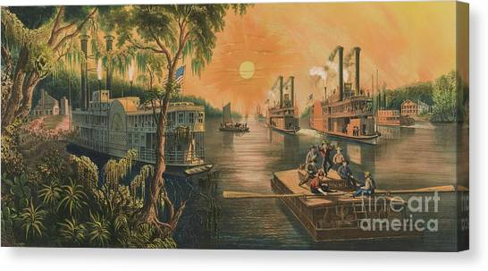 Mississippi River Canvas Print - The Mississippi In Time Of Peace, 1865 by Currier and Ives
