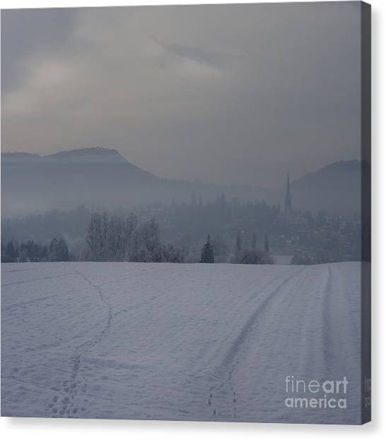 The Misty Wintery Afternoon Canvas Print by Angel Ciesniarska
