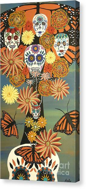 The Monarch's Tree Of Life And The Dead - Day Of The Dead Canvas Print