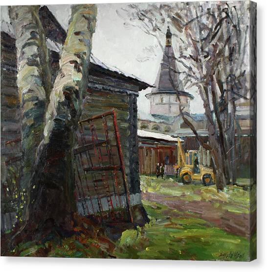 Church Yard Canvas Print - The Monastery Yard by Juliya Zhukova