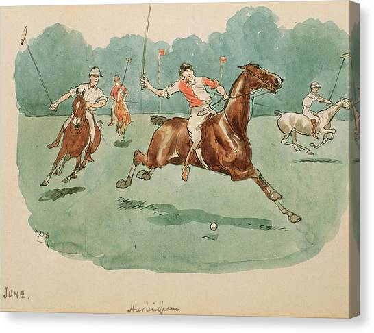 Polo Canvas Print - The Month Of June  Polo by George Derville Rowlandson