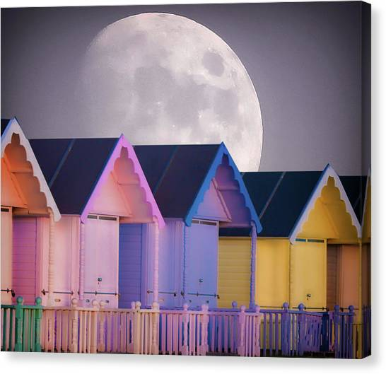 Beach Cabin Canvas Print - The Moons Glow by Martin Newman