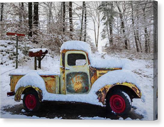 Rusty Truck Canvas Print - The Moonshiners Oil Painting by Debra and Dave Vanderlaan