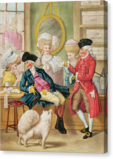 Pomeranians Canvas Print - The Morning Ramble Or The Milliners Shop by Robert Dighton