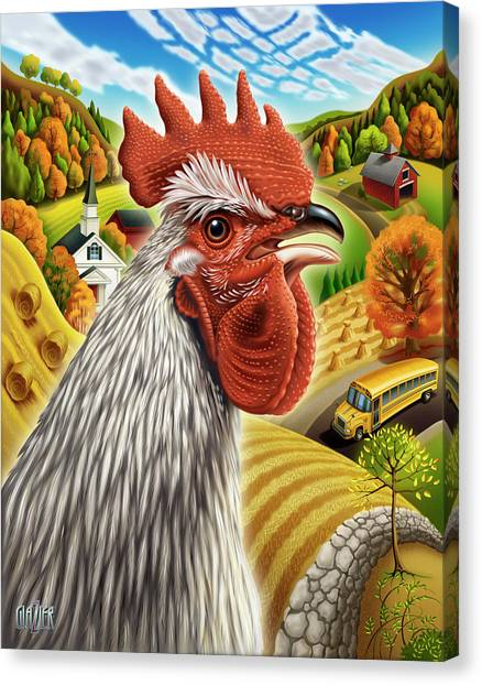 Chicken Farms Canvas Print - The Morning Rooster by Garth Glazier