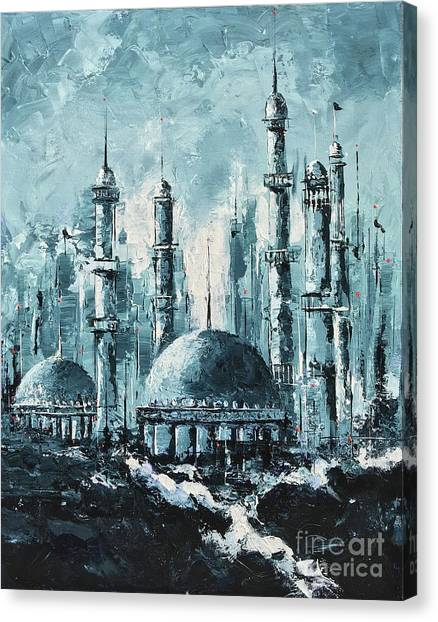 Canvas Print featuring the painting The Mosque-2 by Nizar MacNojia