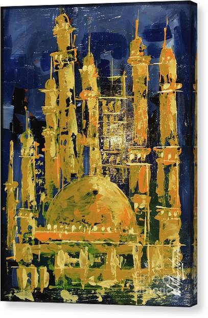 Canvas Print featuring the painting The Mosque-3 by Nizar MacNojia