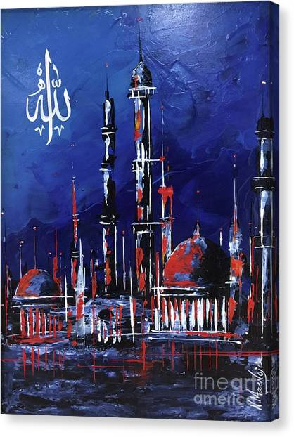 Canvas Print featuring the painting The Mosque-4 by Nizar MacNojia