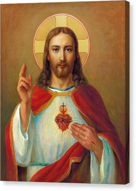 Sacred Canvas Print - The Most Sacred Heart Of Jesus by Svitozar Nenyuk