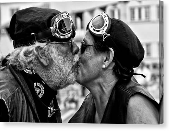 Harley Davidson Canvas Print - The Motard Kiss by Luis Sarmento