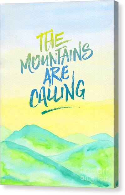 The Mountains Are Calling Yellow Blue Sky Watercolor Painting Canvas Print