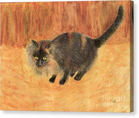 The Mouser, Barn Cat Watercolor Canvas Print