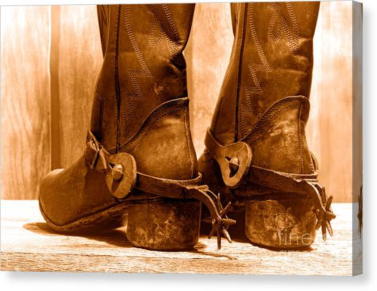 Cowboy Boots Canvas Print - The Muddy Boots - Sepia by Olivier Le Queinec