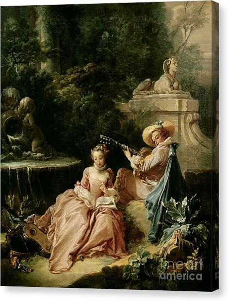 Boucher Canvas Print - The Music Lesson by Francois Boucher
