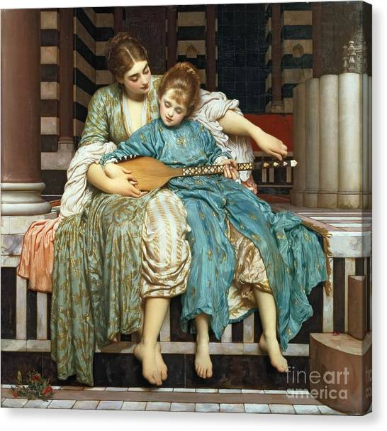 Pre-modern Art Canvas Print - The Music Lesson by Frederic Leighton