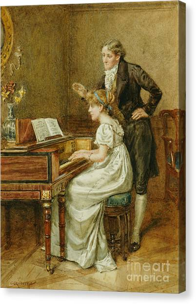 Instructions Canvas Print - The Music Master by George Goodwin Kilburne