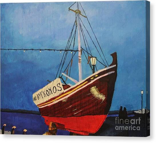 The Mykonos Boat Canvas Print