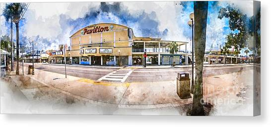 The Myrtle Beach Pavilion - Watercolor Canvas Print