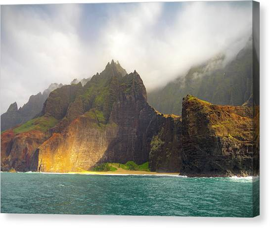 Ocean Cliffs Canvas Print - The Napali Coast by Peter Irwindale