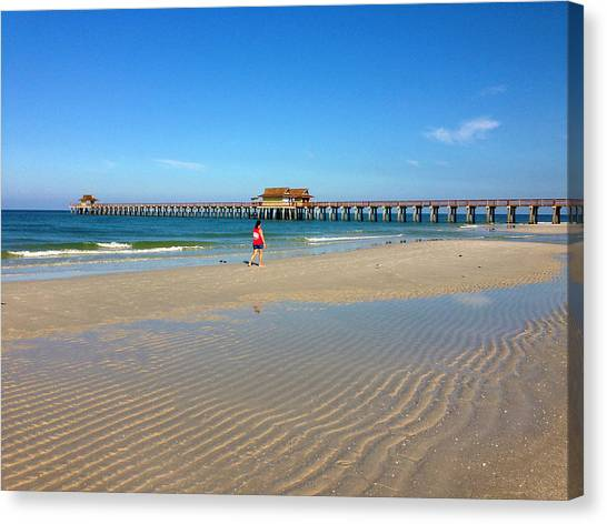 The Naples Pier At Low Tide Canvas Print