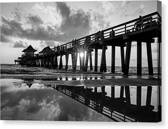 Naples Pier At Sunset Naples Florida Black And White Canvas Print