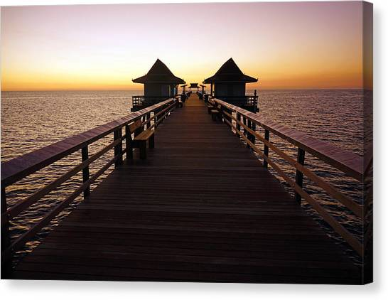 The Naples Pier At Twilight - 01 Canvas Print