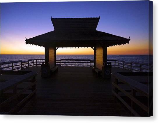 The Naples Pier At Twilight - 02 Canvas Print