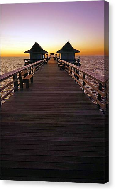 The Naples Pier At Twilight Canvas Print