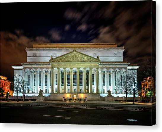 Canvas Print featuring the photograph The National Archives by Ryan Wyckoff