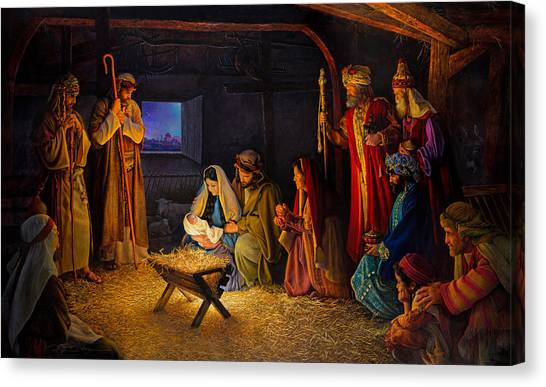 Mary Canvas Print - The Nativity by Greg Olsen
